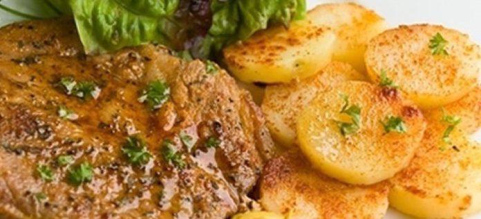 Запеченная свинина с легким салатом